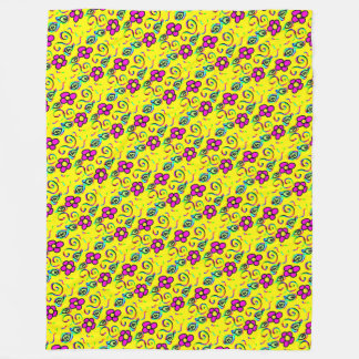 flower yellow background cartoon design fleece blanket