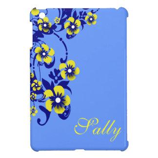 Flower yellow blue pattern name iPad mini cases
