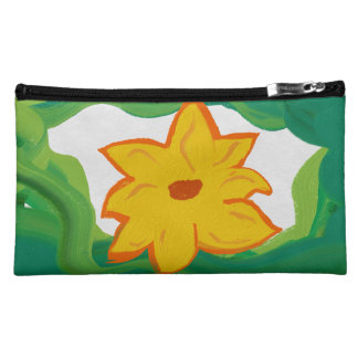 flower yellow makeup bag