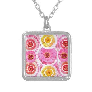 Flower ZINNIA Collage - Enjoy n Share JOY Square Pendant Necklace