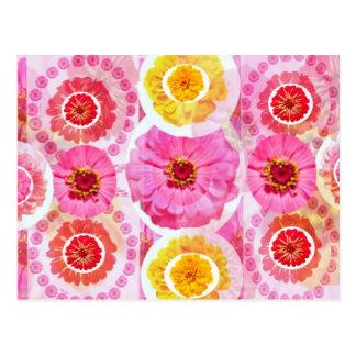 Flower ZINNIA Collage - Enjoy n Share JOY Postcard