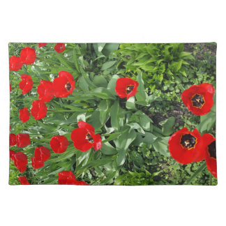 Flowerbed with red tulips placemats