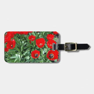 Flowerbed with red tulips travel bag tags