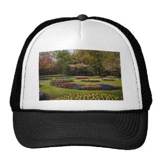Flowerbeds at Keukenhof, Netherlands  flowers Mesh Hats