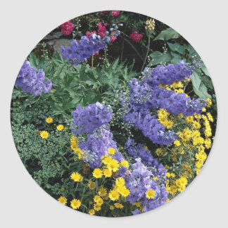 Flowerbeds on the grounds of Hadden Hall, England Round Stickers