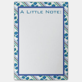 Flowered And Stripes Blue Post-It Notes