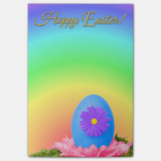 Flowered Blue Easter Egg on Pastel Rainbow Post-it® Notes
