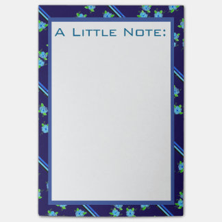 Flowered Blue Office Post-It Notes