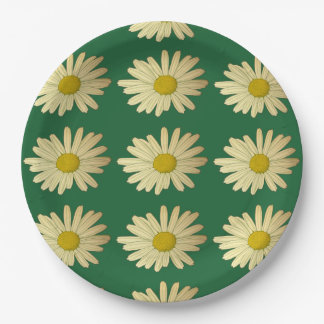 Flowered, daisy on green background - Meadow 9 Inch Paper Plate