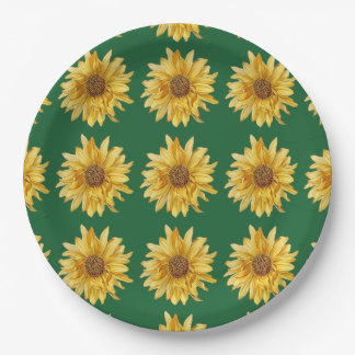 Flowered designed, sunflowers - green background 9 inch paper plate