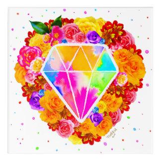 Flowered Diamond Acrylic Wall Art