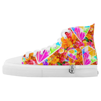 Flowered Diamond Collage High Tops
