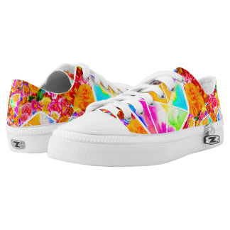 Flowered Diamond Collage Low Tops