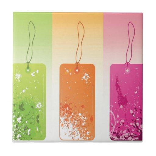 Flowered labels design ceramic tile