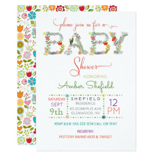 Flowered Letters Baby Shower Gender Neutral Card
