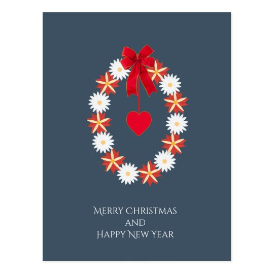 Flowered Merry Christmas - Floral wreath Postcard