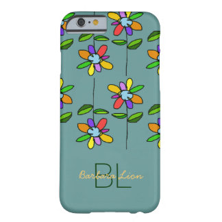 flowered on blue personalized barely there iPhone 6 case