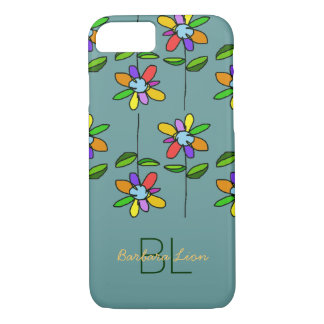 flowered on blue personalized iPhone 7 case