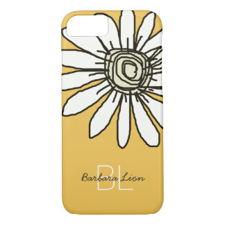 flowered on yellow personalized iPhone 7 case