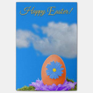 Flowered Orange Easter Egg and Blue Sky Post-it Notes