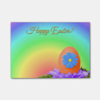Flowered Orange Easter Egg on Pastel Rainbow Post-it Notes