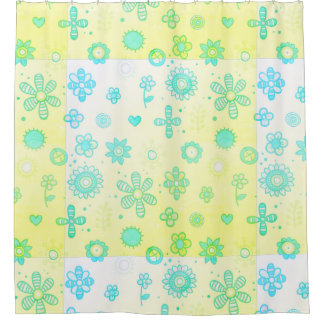 Flowered pastel shower curtain
