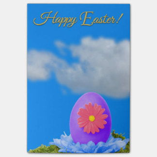Flowered Purple Easter Egg and Blue Sky Post-it Notes