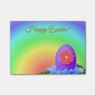Flowered Purple Easter Egg on Pastel Rainbow Post-it Notes