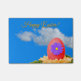 Flowered Red Easter Egg on Pastel Rainbow Post-it Notes