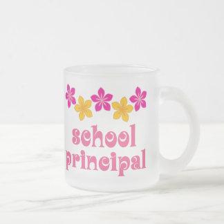 Flowered School Principal Frosted Glass Mug
