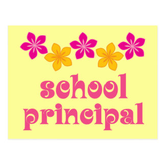 Flowered School Principal Postcard