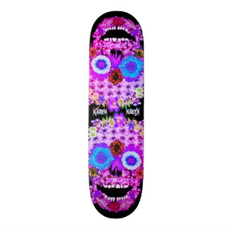 Flowered Sugar Skull Custom Skateboard