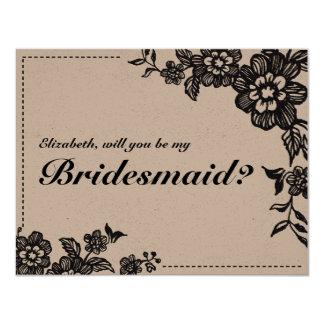 Floweret   Rustic Custom Bridesmaid Card 11 Cm X 14 Cm Invitation Card