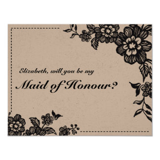 Floweret | Rustic Maid of Honour Card 11 Cm X 14 Cm Invitation Card