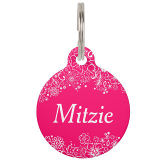 Flowerful Pink & White - Custom Pet Tag