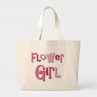 FlowerGirl Pink Brown Large Tote Bag