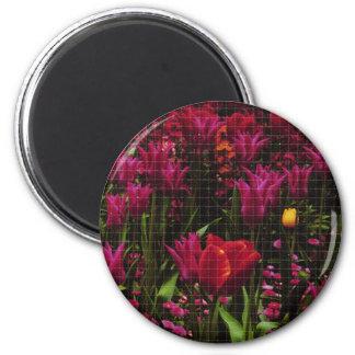 flowergrid 6 cm round magnet