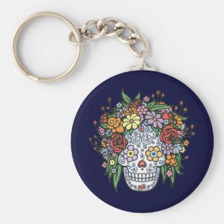 Flowerhair Sugar Skull Basic Round Button Key Ring