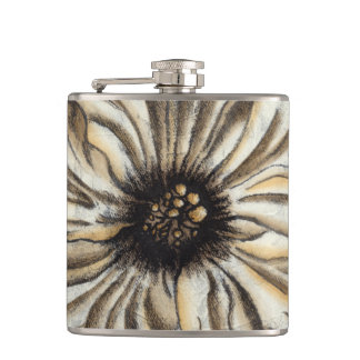 Flowerhead Fresco on Tan Background Hip Flask