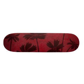 Flowerhead Silhouettes on Crimson Background 21.6 Cm Skateboard Deck