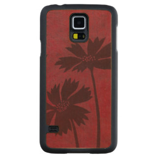 Flowerhead Silhouettes on Crimson Background Carved Maple Galaxy S5 Case