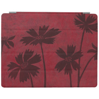 Flowerhead Silhouettes on Crimson Background iPad Cover