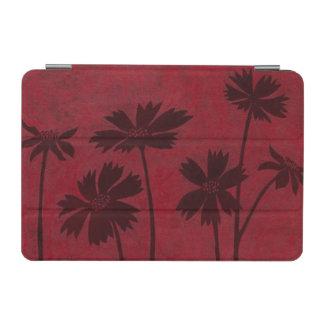 Flowerhead Silhouettes on Crimson Background iPad Mini Cover
