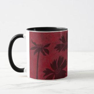 Flowerhead Silhouettes on Crimson Background Mug