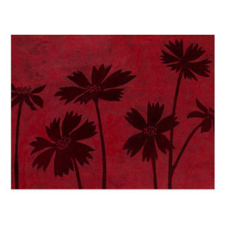 Flowerhead Silhouettes on Crimson Background Postcard
