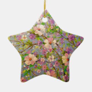 Flowering Apple Ceramic Star Decoration