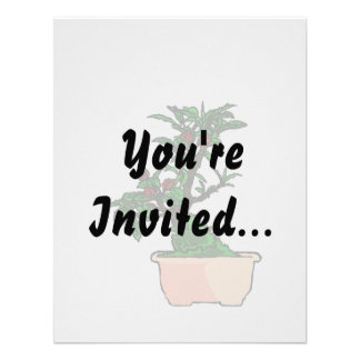 Flowering Bonsai in Pink Square Pot Personalized Invitation