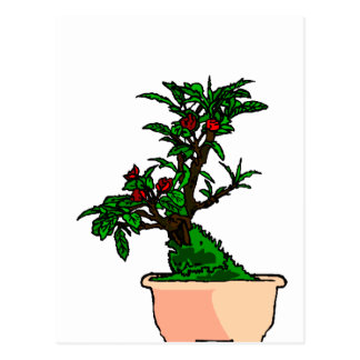 Flowering Bonsai in Pink Square Pot Post Card
