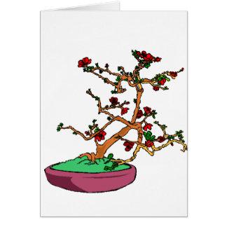 Flowering bonsai leaning tree in pot card
