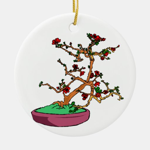 Flowering bonsai leaning tree in pot christmas ornament